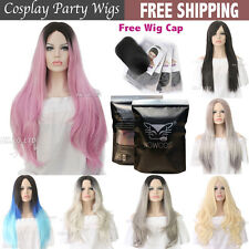Womens Fashion Short Straight Curly Synthetic Hair Black Ombre Grey Cosplay Wigs