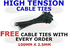 STRONG BLACK CABLE TIES TIE WRAPS ZIP TIES TIDIES 100mm x 2.5mm HIGH QUALITY