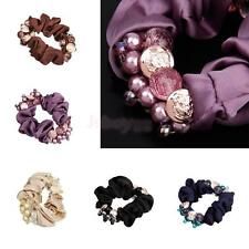 Satin Scrunchies Elastic Hair Bands Ponytail Holder Fashion Pearl Headbands