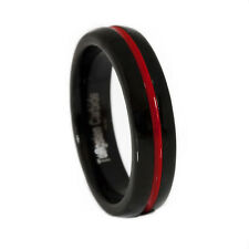 Thin Red Line Tungsten Carbide Ring Dome Shaped Black with Red Channel 5MM