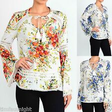 BOHO Gypsy Floral Printed Lace Up Tassel Tie Bell Sleeve Tunic Crochet Trim S-XL