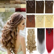100% Real Thick Clip In Hair Extensions Long Curly Full Head Hair Extentions ss