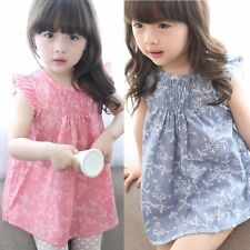 Toddler Kids Baby Girls Princess Party Dress Short Sleeve Floral Dresses Clothes