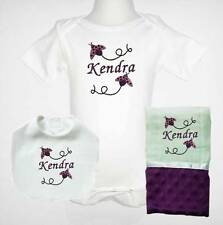 Embroidered Personalized Baby Girl Purple One Piece Bib And Burp Cloth Set