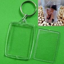5/10 X Clear Acrylic Blank Photo Picture Frame Key Ring Keychain Keyring