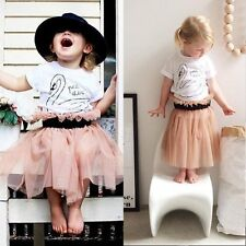2PCS Toddler Kids Baby Girls Outfits Clothes T-shirt+Tulle Tutu Skirt Dress Sets