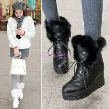 Womens Rabbit Fur Trim Lined Platform Wedge Heel Snow Winter Ankle Boots Shoes