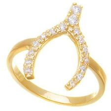 14K GOLD VERMEIL WISHBONE CUBIC ZIRCONIA RING-925/STERLING SILVER