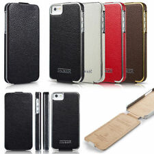 Genuine ICARER Cowhide Leather Flip Up/ Down Case Cover For Apple iphone 5 5S SE