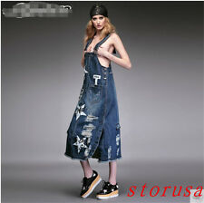 Boutique Women Girsl Hole Retro Demin Dress Flora A Overalls Jeans Street Dress