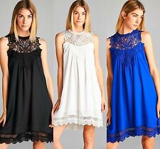 Boho White Black Royal Sleeveless Crochet Lace Chiffon Flowy High Neck Dress S-L