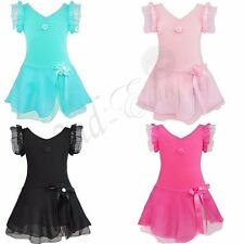 Girls Kids Ballet Dance Dress Leotard Chiffon Skirt Party Dancewear Costume 2-12