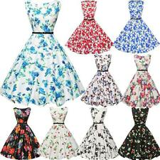 Vintage Womens 50s 60s Retro Floral Rockabilly Pinup Housewife Party Swing Dress