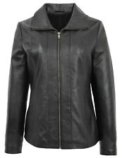 Womens Classic Zip Up Real Leather Jacket Ladies Semi Fitted Lambskin Coat Black