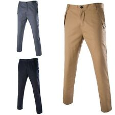 Mens Business Casual Straight Pants Slim Fit Formal Long Trousers 3 Colors