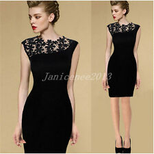 Lady Women Lace Sleeveless Bodycon Cocktail Evening Party Short Mini Dress