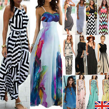 Womens Maxi Boho Floral Summer Beach Long Skirt Evening Cocktail Party Dress NEW