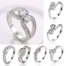 Womens Silver 18K CZ Zirconia White Gold Filled Ring Wedding Engagement #7/8/9