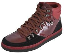 NEW Gucci Men's 368496 Black Burgundy Suede Patent Hi Top Sneakers Boots Shoes