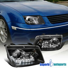 1999-2004 VW Jetta R8 Style LED Loop Projector Headlights Black SpecD Tuning