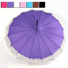 Hot Lady Long Curved Handle Pagoda Umbrella Lace Wind-proof Princess Sun Parasol
