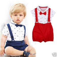 2PC baby newborn rompers +Straps shorts baby kids boys girls clothes summer suit