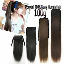 100g 18''~28'' Clip In Remy Ponytail 100%Real Human Hair Extensions Full Head CA