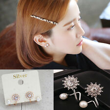 1 Pair Charm Women Crystal Rhinestone Pearl Snowflake Ear Stud Earrings Jewelry