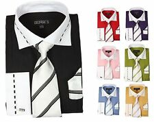 Men's fashion Dress Shirt With Tie&Hanky Two Tone Color,French Cuff Style AH621