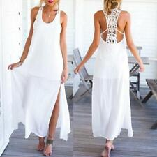 Women Sexy Casual Sleeveless Boho Dress Summer Backless Lace Long Maxi Sundress