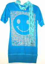 New Beautees Smiley Face Glitter Top Junior Girls Sizes Small Medium Shirt Scarf