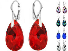 Sterling Silver Earrings made with SWAROVSKI ELEMENTS - 6106 Pear 22mm Crystals