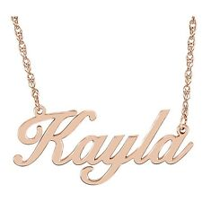 A SCRIPT NAME PLATE NECKLACE Sterling Silver or 14k Yellow or Rose Gold Plated
