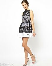 NEW LADIES JONES & JONES FLORAL ORGANZA PROM DRESS BLACK/WHITE UK SIZE 10