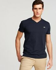 Lacoste Men navy blue Pima cotton  V-neck short sleeve T-shirt Size S or M