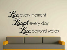WALL ART STICKER DECAL MURAL TEXT QUOTE DECORATIVE LIVE LAUGH LOVE 3 SIZES