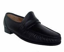 Climate X 21592-4 Mens BLACK Leather Sole Slip On Comfort Dress Shoes WIDE