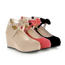 Womens Girls Sweet Candy Platform Wedge Heel Bow Lolita Mary janes Pumps Shoes