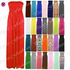 Womens Strapless Maxi Dress Ladies Sheering Boobtube Bandeau Long Plus Size 8-24