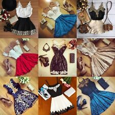 Ladies Sexy Women Lace Transpare Party Dresses Evening swing Cocktail Mini Dress