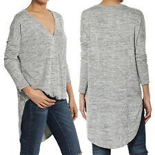 TheMogan Hi Low Draped Wrap Front Lightweight Knit Top with Dolman Long Sleeve