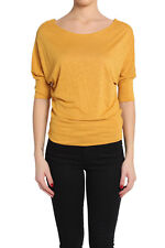 TheMogan 3/4 Dolman Sleeve Boat Neck Draped Jersey Top Slouchy Knit Tee