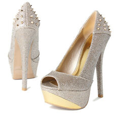 TheMogan Metal Tip Studded Heel Peep Toe Platform Pumps