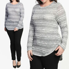 TheMogan PLUS SIZE Casual Stripe Long Sleeve Lightweight Knit Sweater HI LOW Top