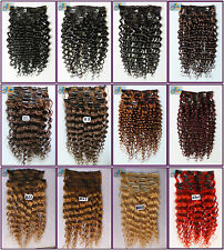 12PCS 250g Curly Remy Clip In Real Human Hair Extension Deep Wavy Hair Full Head