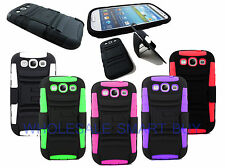 TOUGH RUGGED CASE COMBO CLIP HOLSTER FOR BOOST MOBILE SAMSUNG GALAXY S3