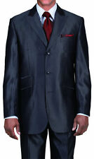 Mens Luxurious Wool Feel Suit Sharkskin Dark Gray 3 button 58026 Milano Moda