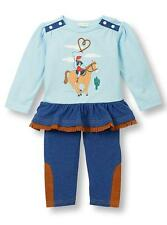 Le Top Baby Girls Howdy! Western Rodeo Cowgirl Skirted Tunic and Jeggings Set