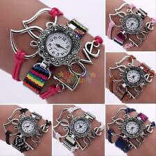 Vintage Women Love Charm Heart Bracelet Wrap Watch Weave Casual Quartz Watches