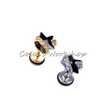STAINLESS STEEL TWISTED 3D SNAKE BLACK CZ STAR STUD SCREW BACK EARRING GOTH PUNK